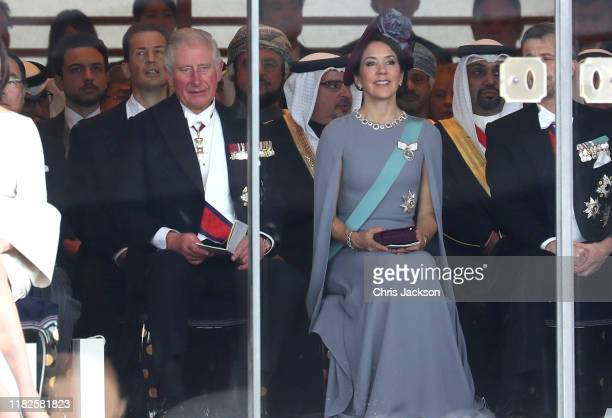 Prince Charles Prince of Wales and Crown Princess Mary of Denmark attend the Enthronement Ceremony of Emperor Naruhito at the Imperial Palace on...