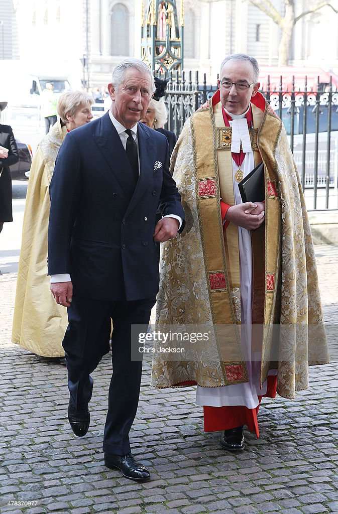 Prince Charles, Prince of Wales and Dean of Westminster Dr John Hall attend a memorial service for Sir David Frost at Westminster Abbey on March 13, 2014 in London, England.