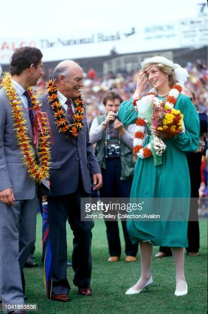 Prince Charles Prince of Wales and Diana Princess of Wales are officially welcomed to New Zealand at Eden Park Auckland 18th April 1983