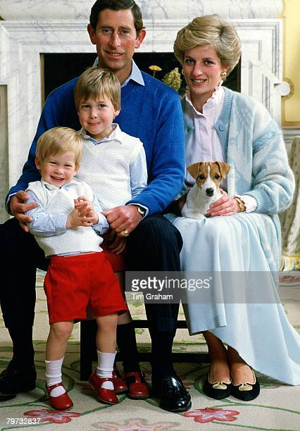 Prince Charles, Prince of Wales and Diana, Princess of Wales at home in Kensington Palace with their sons Prince William and Prince Harry