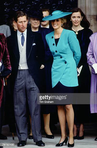 Prince Charles Prince of Wales and Diana Princess of Wales at the society wedding of Miss Camilla Dunne to the Honourable Rupert Soames at Hereford...
