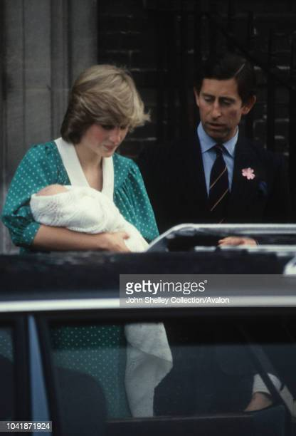 Prince Charles, Prince of Wales, and Diana, Princess of Wales, leave St Mary's Hospital with their first son, William Arthur Philip Louis, London,...