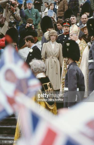 Prince Charles Prince of Wales and Diana Princess of Wales make their first official visit to Wales St David's Cathedral UK 28th October 1981 Diana...