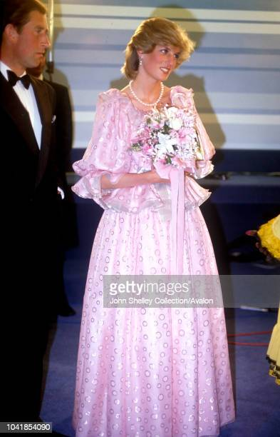 Prince Charles, Prince of Wales, and Diana, Princess of Wales, visit Australia, After a Gala Concert in Melbourne, Victoria, Diana is wearing a gown...