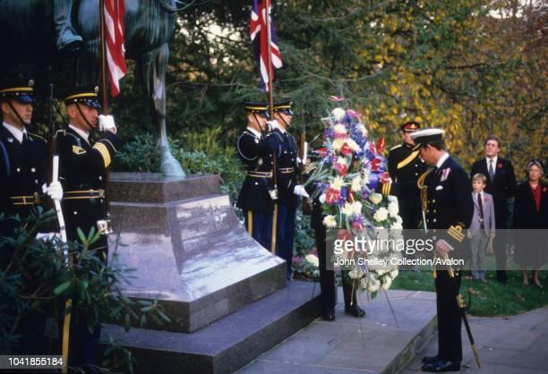 Prince Charles Prince of Wales and Diana Princess of Wales visit Washington DC Arlington National Cemetery Arlington Virginia Laying a wreath at the...