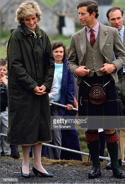 Prince Charles, Prince of Wales and Diana, Princess of Wales visit Castlebay in Barra, the Western Isles, The Princess is wearing a Barbour style...