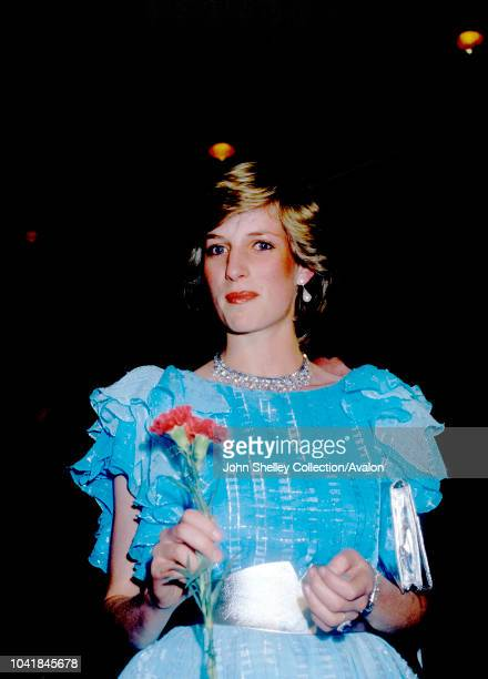 Prince Charles Prince of Wales and Diana Princess of Wales visit Australia Diana is wearing a Bruce Oldfield dress At a Charity Ball Sydney New South...