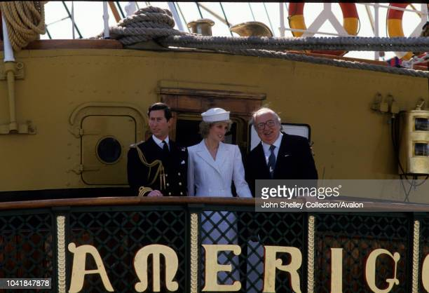 Prince Charles Prince of Wales and Diana Princess of Wales visit La Spezia during their tour of Italy Aboard the tall ship Amerigo Vespucci in the...