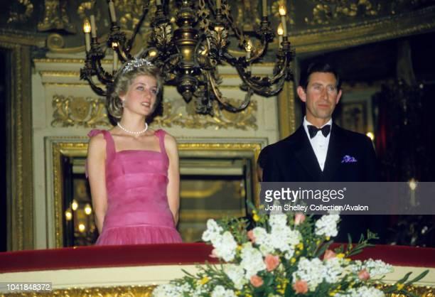 Prince Charles, Prince of Wales, and Diana, Princess of Wales, visit La Scala Opera House, Milan, Italy, In the royal box, 20th April 1985.
