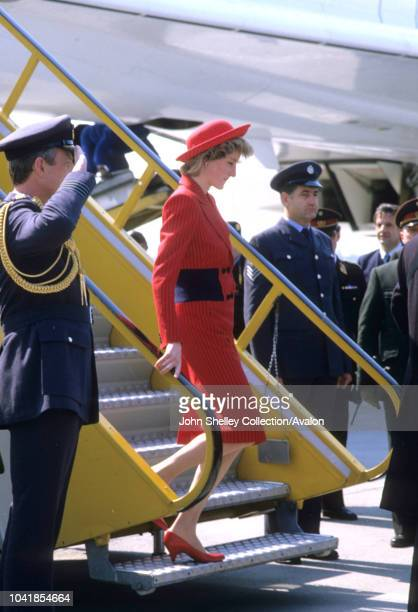 Prince Charles Prince of Wales and Diana Princess of Wales visit Vienna Austria On arrival 14th April 1986