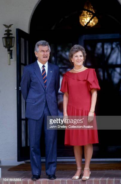 Prince Charles Prince of Wales and Diana Princess of Wales visit Australia Canberra Meeting Australian Prime Minister Bob Hawke and his wife Hazel In...