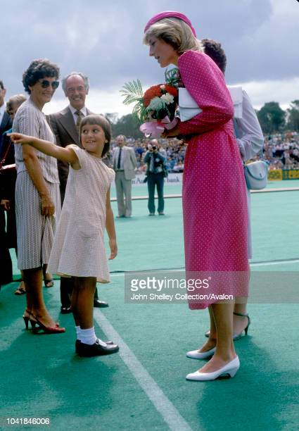 Prince Charles Prince of Wales and Diana Princess of Wales visit Australia Perth Western Australia Diana is wearing a dress by Donald Campbell and a...