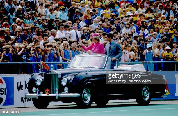 Prince Charles, Prince of Wales, and Diana, Princess of Wales, visit Australia, Perth, Western Australia, Diana is wearing a dress by Donald Campbell...