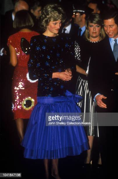 Prince Charles Prince of Wales and Diana Princess of Wales visit Italy Florence Diana is wearing an outfit by designer Jacques Azagury 23rd April 1985