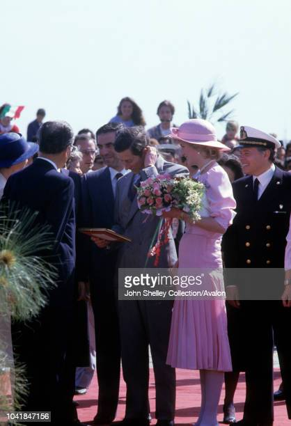 Prince Charles Prince of Wales and Diana Princess of Wales visit Sicily during their trip to Italy Diana is wearing a Catherine Walker dress and a...