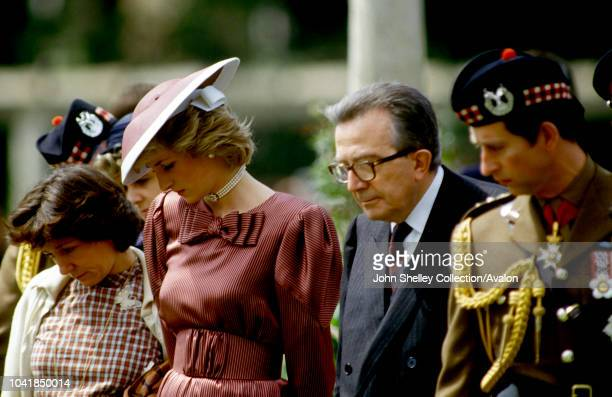 Prince Charles Prince of Wales and Diana Princess of Wales visit Beach Head Cemetery in Anzio Italy to honour those killed in the Allied landings of...