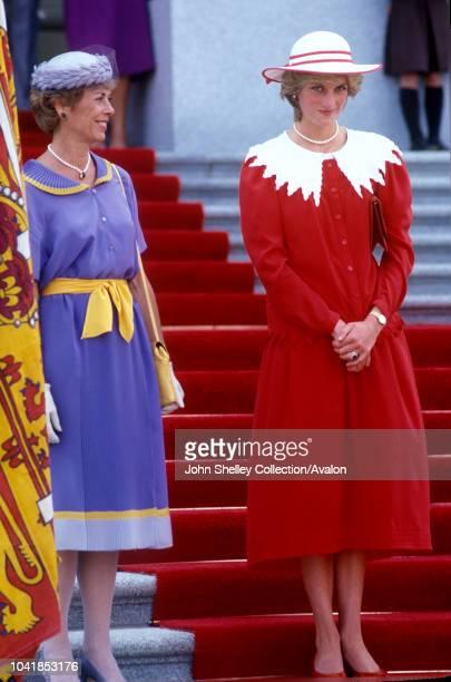 Prince Charles Prince of Wales and Diana Princess of Wales visit Canada Edmonton Alberta Legislative Building 29th June 1983
