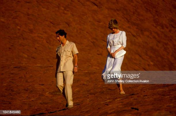 Prince Charles, Prince of Wales, and Diana, Princess of Wales, visit Australia, Visit to Ayers Rock - Uluru, 21st March 1983.