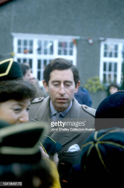 Prince Charles, Prince of Wales, and Diana, Princess of Wales, visit West Wales, Walkabout at Neuadd Pendre Hall, Brook Street, Tywyn, Diana's coat...