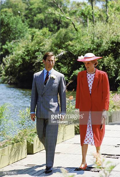 Prince Charles Prince of Wales and Diana Princess of Wales visiting the Royal Botanical Gardens in Melbourne Australia