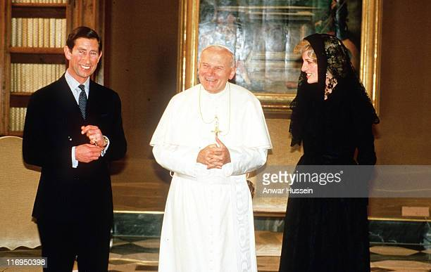 Pope John Paul 11 meets The Prince and Princess of Wales at the Vatican during the Royal couple's visit to Italy in April 1985