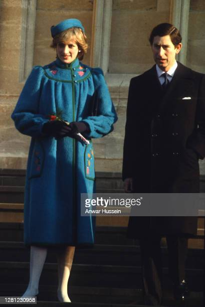 Prince Charles, Prince of Wales and Diana, Princess of Wales, wearing a blue maternity coat designed by Bellville Sassoon and a matching pillbox hat,...