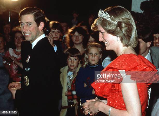 Prince Charles Prince of Wales and Princess Diana Princess of Wales wearing the Spencer Tiara arrive for a reception during an official tour of...