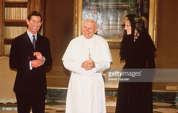 Diana Princess of Wales and Prince Charles share an audience with Pope John Paul II in the Vatican Rome Italy in April 1985 during the Royal Tour of...