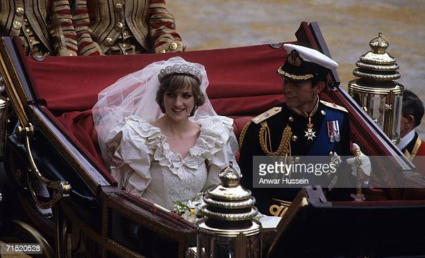 Prince Charles Prince of Wales and Diana Princess of Wales leave St Paul's Cathedral in a carriage following their wedding July 29 1981 in London...