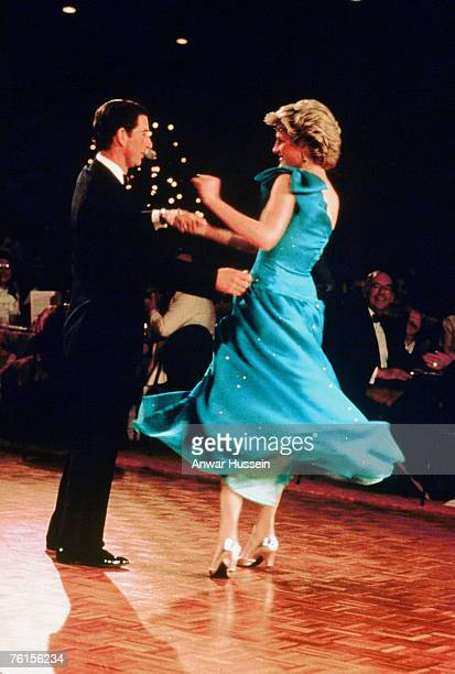 Princess Diana in a Bruce Oldfield dress dancing with Prince Charles in Sydney Australia in March 1983