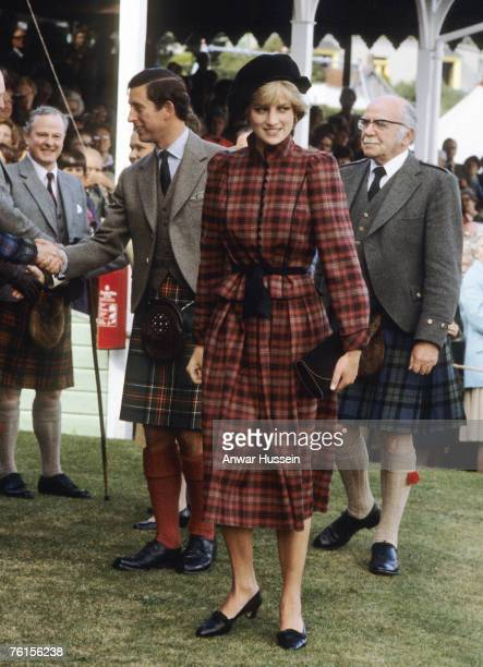 Princess Diana Princess of Wales and Prince Charles Prince of Wales attend the Braemar Games in September 1981 Diana Princess of Wales wears a tartan...