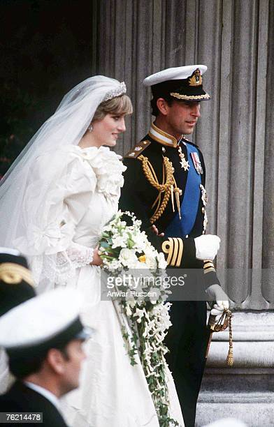 Diana Princess of Wales and Prince Charles emerge from St Paul's Cathedral after their wedding July 29 1981 in London England