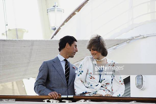 An August 1981 photo of Prince Charles Prince of Wales and Princess Diana Princess of Wales on their honeymoon which was spent cruising the...