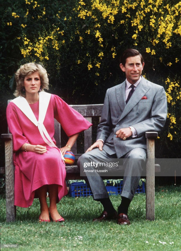 Prince Charles, Prince of Wales and Princess Diana, Princess of Wales, at Kensington Palace gardens in June 1984.