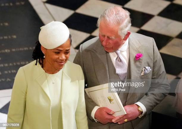 Prince Charles Prince of Wales and Doria Ragland mother of the bride depart after the wedding of Prince Harry and Meghan Markle at St George's Chapel...