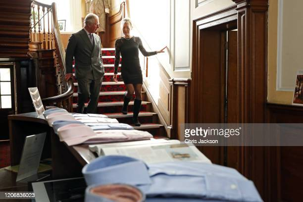 Prince Charles Prince of Wales and Emma Willis tour the facilities during his visit at the Emma Willis LTD factory on February 17 2020 in Gloucester...