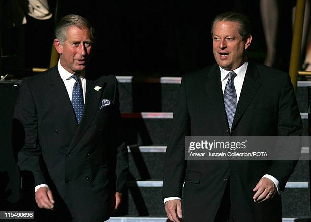 Prince Charles Prince of Wales and former US Vice President Al Gore arrive at the Royal Albert Hall for the Business in the Community Awards for...
