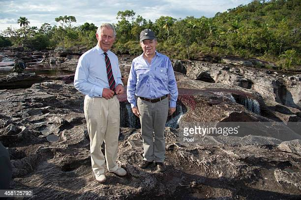 Prince Charles Prince of Wales and guide Martin von Hildebrand visit the Chiribiquete National Park in Columbia on October 30 2014 The Royal Couple...