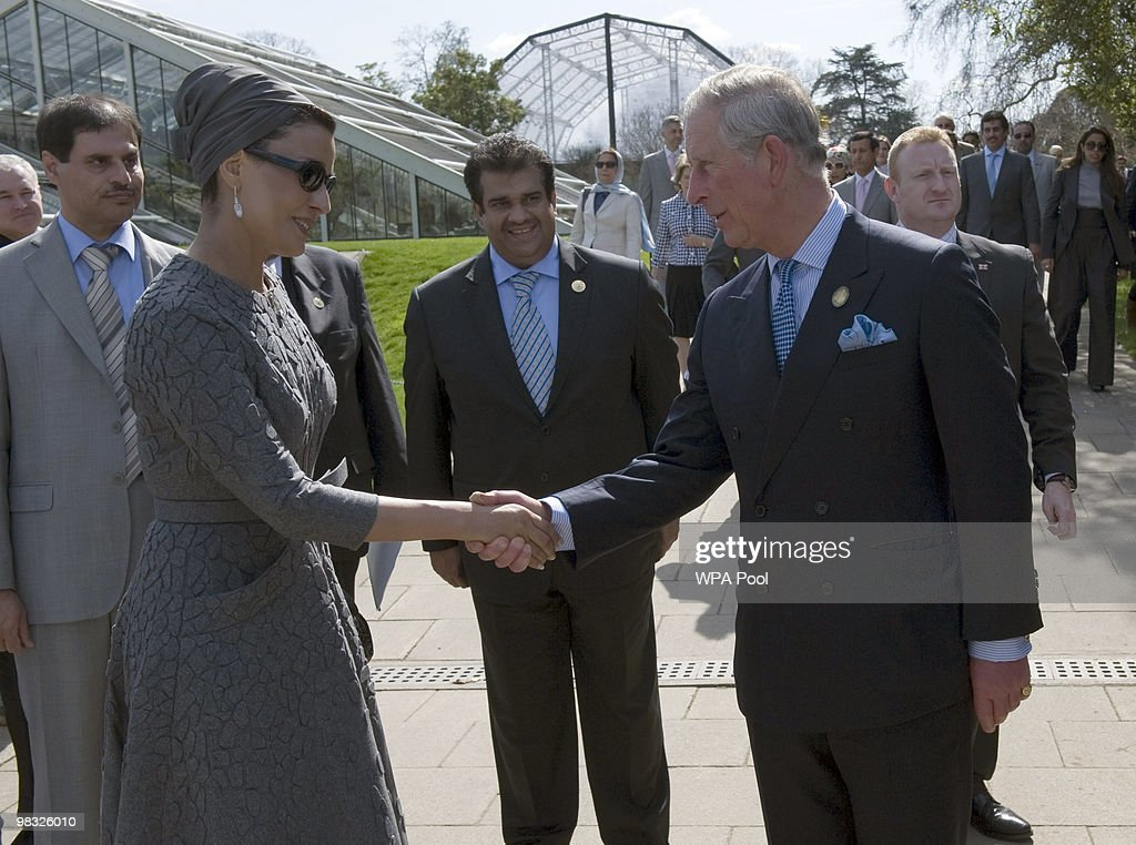 Prince Charles, Prince of Wales (R) and Her Highness Sheikha Mozah bint Nasser Al Missned, Chairperson of Qatar Foundation for Education, Science and Community Development, attend the official opening of the Qur'anic Garden Exhibition at the Royal Botanic Gardens on April 8, 2010 in Surrey, England.