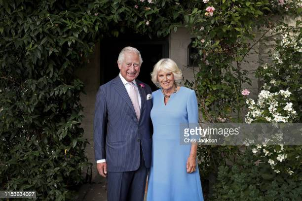 Prince Charles, Prince of Wales and Her Royal Highness Camilla, Duchess of Cornwall pose for an official portrait to celebrate Wales Week 2019 taken...