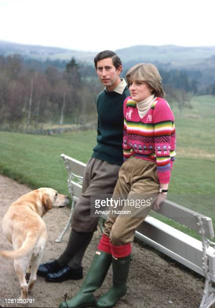 Prince Charles, Prince of Wales and his fiance Lady Diana Spencer, wearing an Inca jersey jumper with green corduroy trousers and Hunter wellies,...