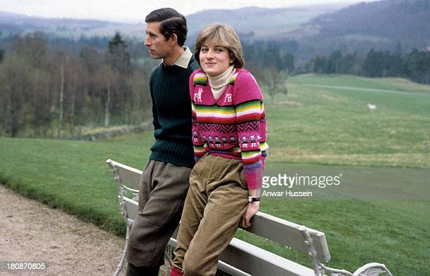 Prince Charles Prince of Wales and his fiance Lady Diana Spencer pose for a photo before their wedding while staying at Craigowan Lodge on the...