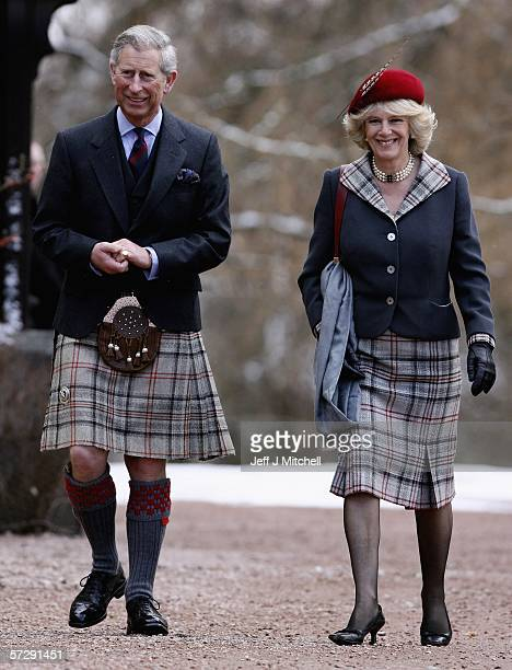 Prince Charles, Prince of Wales, and his wife Camilla, Duchess of Cornwall, in their role as the Duke and Duchess of Rothesay, arrive at Crathie...