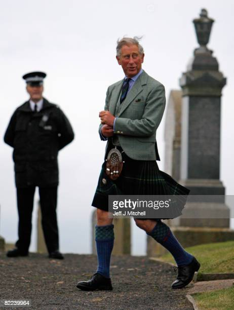 Prince Charles Prince of Wales and his wife Camilla Duchess of Cornwall in their role as the Duke and Duchess of Rothesay attend the Sunday church...