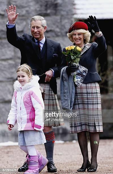 Prince Charles, Prince of Wales and HRH Camilla, Duchess of Cornwall leave Crathie Church with Heather Stewart aged 6 from Glasgow n April 9 Ballater...