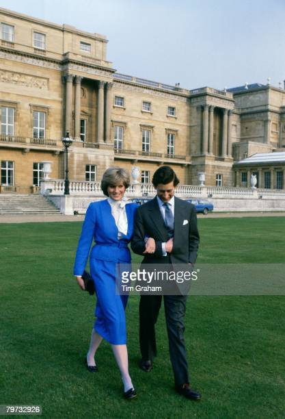 Prince Charles Prince of Wales and Lady Diana Spencer in the gardens of Buckingham Palace on the day of announcing their engagement