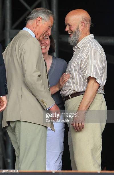 Prince Charles Prince of Wales and Michael Eavis attends the first day of the Glastonbury Festival at Worthy Farm on June 24 2010 in Glastonbury...