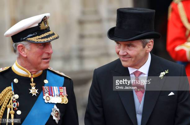 Prince Charles Prince of Wales and Michael Middleton speak following the marriage of Prince William Duke of Cambridge and Catherine Duchess of...