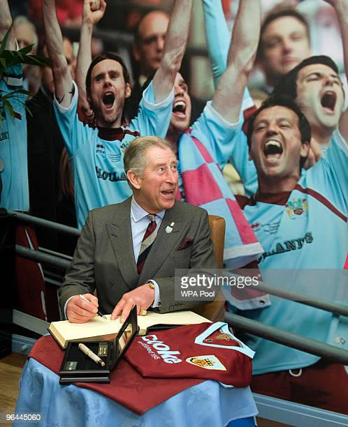 Prince Charles, Prince of Wales and President of The Prince's Trust and Business In The Community meets representatives of Burnley Football Club and...