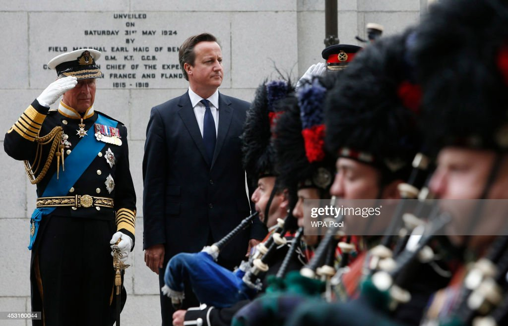Prince Charles, Prince Of Wales and Prime Minister David Cameron take the Salute at a wreath-laying ceremony at the cenotaph in Glasgow to commemorate the centenary of the start of World War One on August 4, 2014 in Glasgow, Scotland. Monday 4th August marks the 100thanniversary of Great Britain declaring war on Germany. In 1914 British Prime Minister Herbert Asquith announced at 11pm that Britain was to enter the war after Germany had violated Belgium neutrality. The First World War or the Great War lasted until 11 November 1918 and is recognised as one of the deadliest historical conflicts with millions of causalities. A series of events commemorating the 100th anniversary are taking place throughout the day.